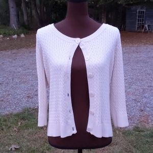Jeanne Pieire Cream Knit Cardigan Sweater